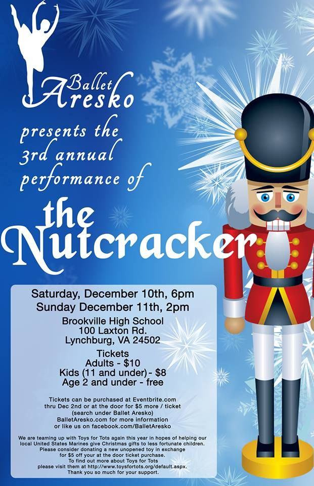 Ballet Aresko is presenting The Nutcracker on December 10th and 11th at Brookville High School. This is a wonderful Christmas tradition! Receive $5 off your ticket price at the door if you bring a new unopened gift to donate to Toys for Tots.