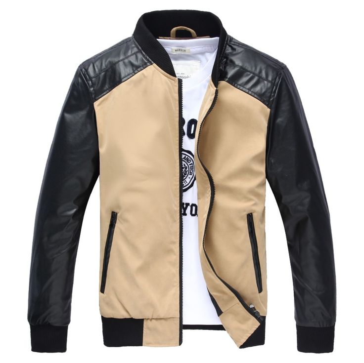 Hot Sale Men stitching machine wagon jacket tide Men's Slim Fit leather collar thin jackets  Casual Fashion Overcoat