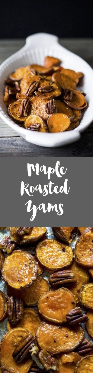Maple Roasted Yams with Pecans- and easy VEGAN and Gluten-free side dish that requires 5 minutes of prep before it goes into the oven to bake! | www.feastingathome.com