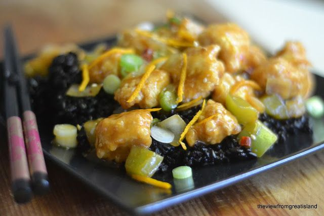 The spicy/sweet dynamic of this dish is amazing. Spicy Tangerine Chicken with Black Rice - The View from Great Island