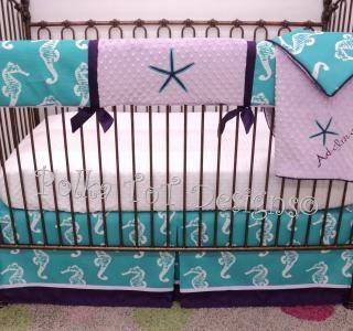 4 Pice #Bumperless Lainey #Baby #Bedding – Polka Tot Designs #Beach #Nursery #Starfish #Seahorse #Turquoise #Purple  #NOBUMPER #Rail #Guard #Teething #Mermaid