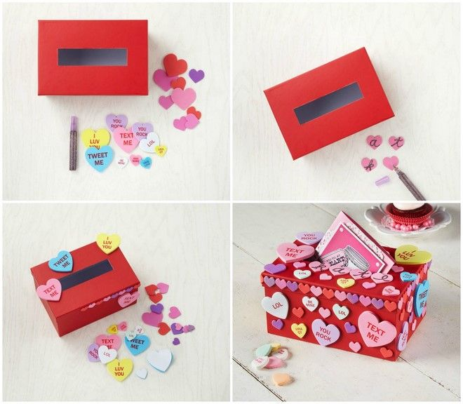Valentines Day Boxes For Her Colorful Hearts Shoebox Decoration Valentine Card Box Diy Valentine S Box Valentines Diy
