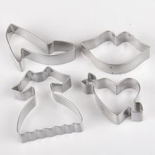 4 ks / set DIY 3D boty svatební šaty Metal cookie fréza fondant dort zdobení Cutter Tool (Čína (pevninská část))