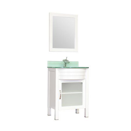 Photo Of Elite inch Single Modern Bathroom Vanity in White with Light Green Glass Top and Mirror