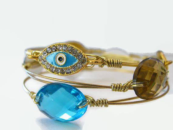 Free Shipping 3 Evil Eye Bangle Set Blue Bangle Bracelet Turquoise Jewelry Wire Wrapped Bangle Stacking Bracelet Set Greek evil eye by SecretStories