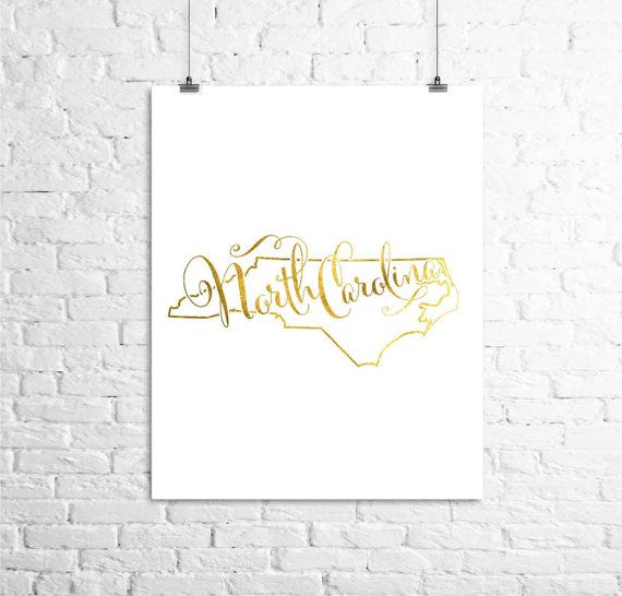 North Carolina Map done in a shiny gold finish. This Digital Print will enhance your home decor giving it an elegant touch.