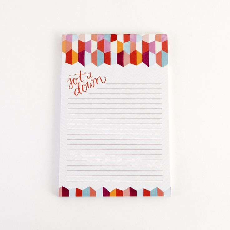 Jot it down on this colorful notepad.