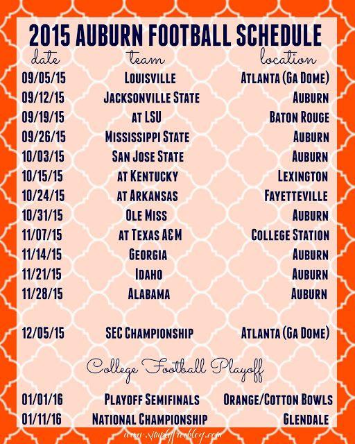 2015 Auburn Football Schedule | Freebie | I Believe in