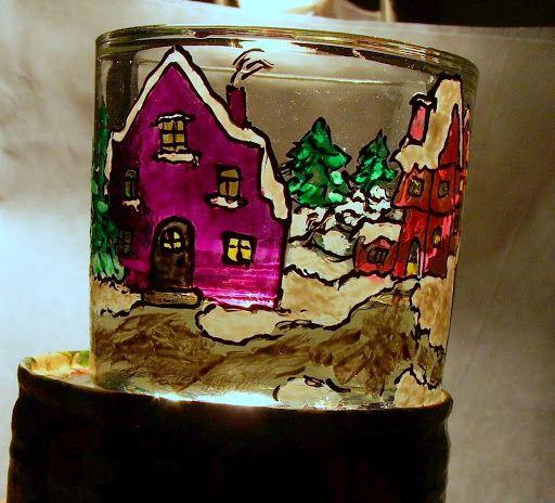 Świecznik szklany malowany / Stained glass lantern