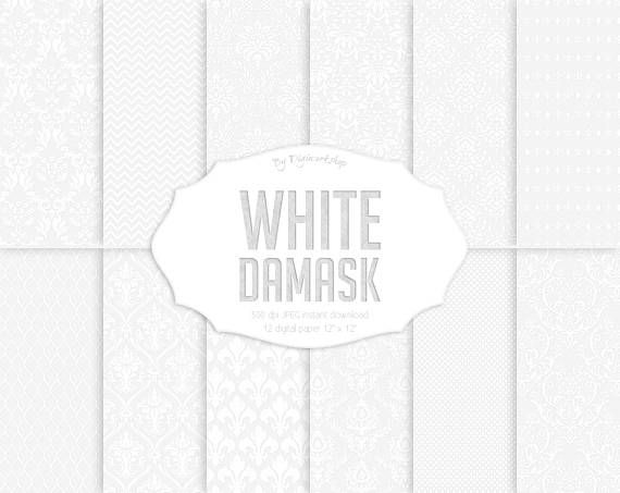 "#White #damask digital paper: ""White Damask""  12 white damask digital paper set ""White Damask"" digital paper with white damask backgrounds, classical light patterns in white ... #etsy #digiworkshop #scrapbooking #illustration #creative #clipart #printables #cardmaking"