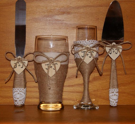 Rustic Wedding Champagne Flute and Beer by CarolesWeddingWhimsy