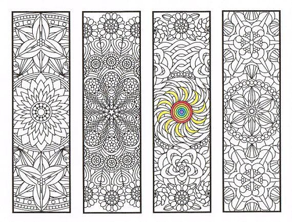 Coloriage de signets - Flower Mandalas Page 2 - Coloriages pour adultes, grands enfants et votre résident bookworm - quatre signets imprimables à couleur