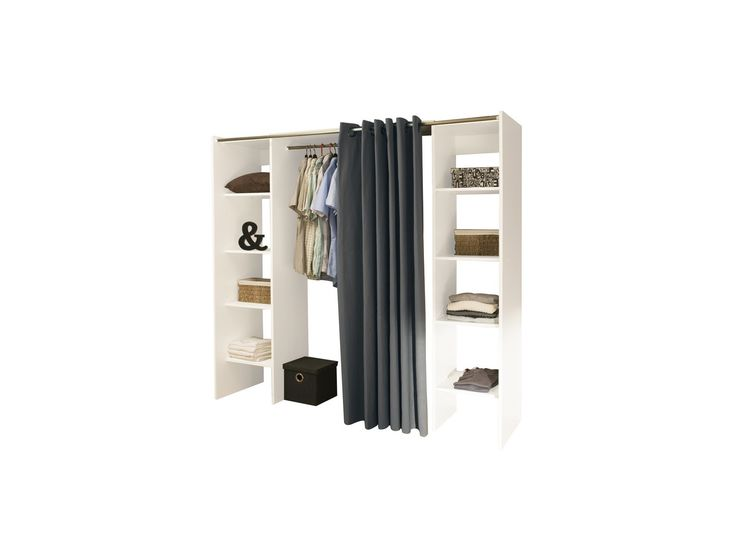 Armoire dressing extensible EMERIC - L.112/185 cm - Blanc et anthracite
