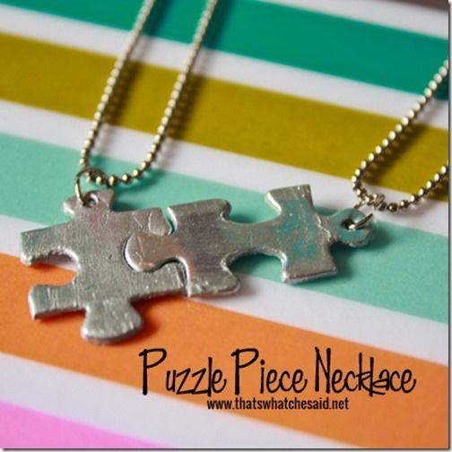 "Puzzle Piece Necklace – could also work as a keychain or something? Also, need to get me one of those ""tag hope punches"" like she had"