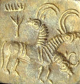 """Harappan Seal, """"Antelopes with inscription,"""" ca. 2600-1900 BC, Indus Valley Civilization, present-day Pakistan."""