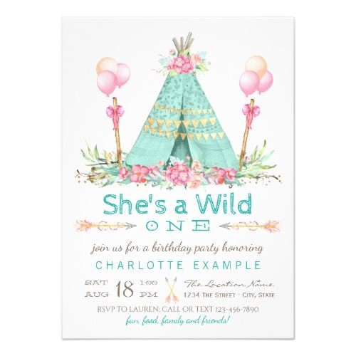 121 best girls 1st birthday party invitations images on pinterest girls 1st birthday party invitations wild one birthday party teepee first birthday card stopboris Choice Image