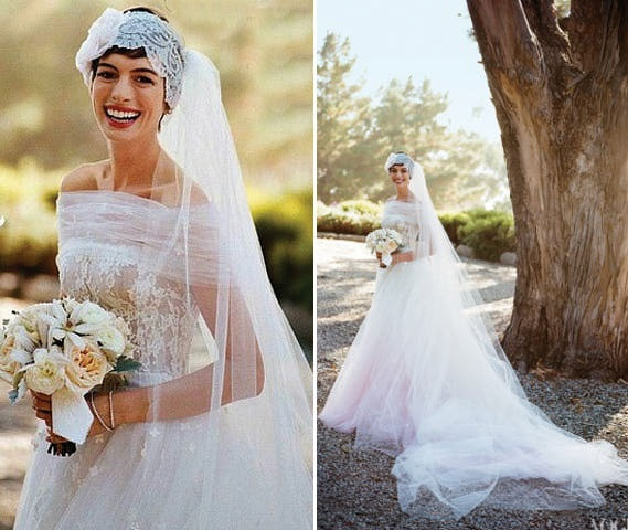Anne Hathaway Gown: Oversized Wedding Veil With A Pixie Cut