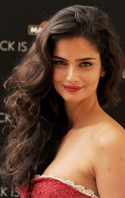 dramatic, side swept hair, gorgeous brunette, long layers, strapless