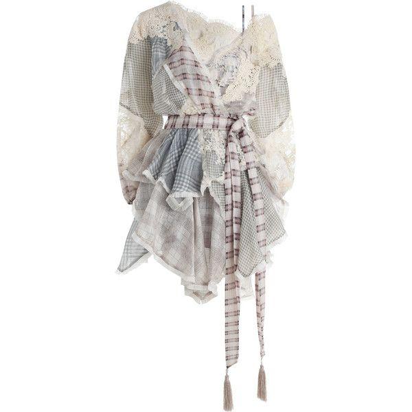 ZIMMERMANN Cavalier Plaid Dress (€1.050) ❤ liked on Polyvore featuring dresses, zimmermann, tops, white slip dress, white lace dress, slip dress, blouson dress and white dress