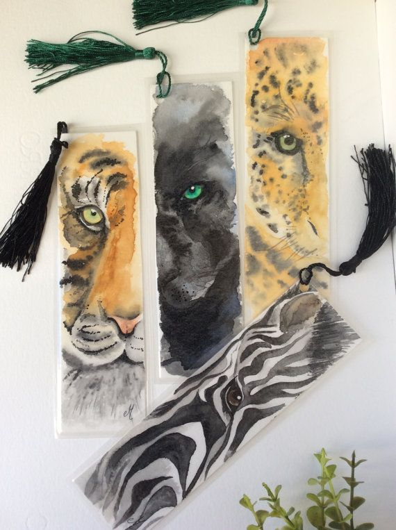 Watercolor bookmarks Watercolor painting Wild life animals Gifts for readers Book lovers gift Nature lovers gifts
