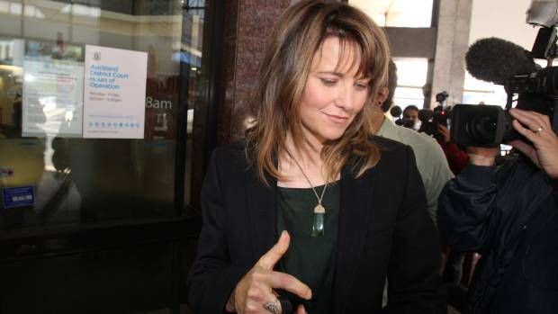 Lucy Lawless outside the Auckland District Court, after an appearance arising from her arrest during a Greenpeace protest in 2012.
