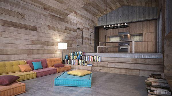 Black Lake vacation cabin by HEaD studio, via Behance