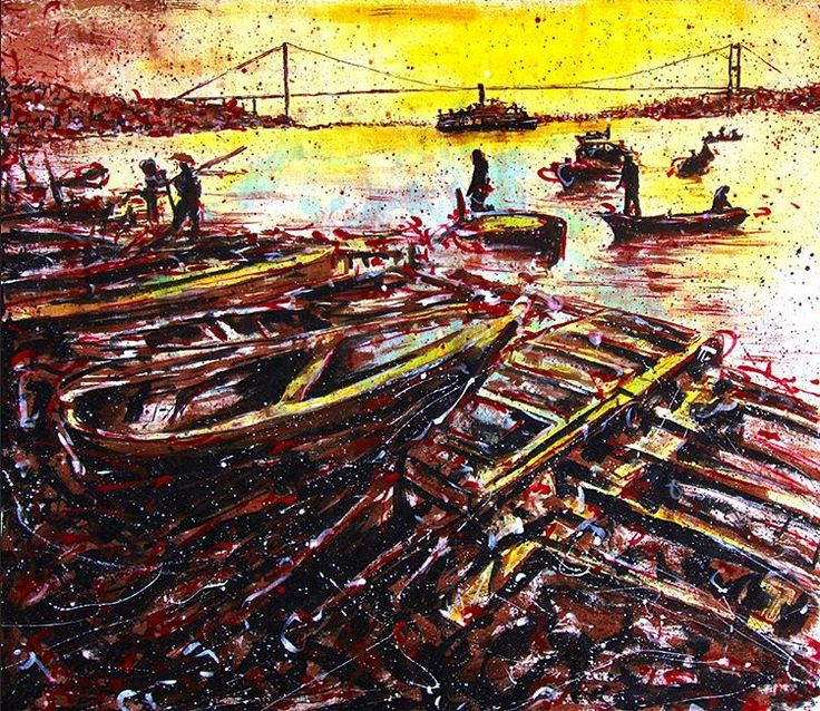 """Günaydın (good morning)  Bosphorus (2015) 146x127cm acrylic canvas"""