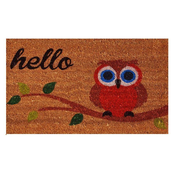home u0026 more elf owl hello outdoor doormat