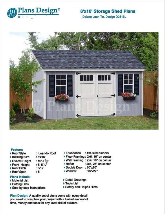 8 X 16 Garden Storage Lean To Shed Plans Etsy In 2020 Shed Plans Lean To Backyard Sheds