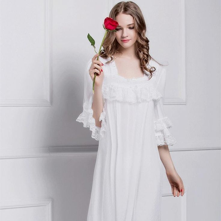 Summer sleeping dress for women Lace half sleeve long nightgowns white  bathrobe home two color pure color home dress M/L/XL