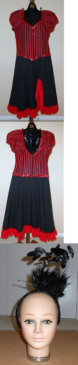 Halloween Costumes Women: Adult Womens Can Can Girl Halloween Costume Saloon Girl Small Red Black BUY IT NOW ONLY: $75.0