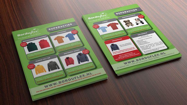 Levering grafisch ontwerp en drukwerk van de reclame flyers van Borduflex! Met plezier aan gewerkt! www.omega-design.nl