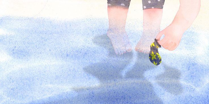 동화,창작동화,일러스트,수채화,소녀,어린아이,풍선,바다,물,흐르는물,illustration,illust,picture book,children,fairy tale book,동화책,동화일러스트,일러스트레이션,그림책,그림,회화,watercolor painting,drawing,변콩,삽화