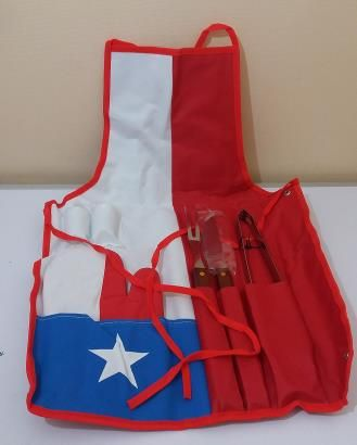 Juego Delantal Bandera Chilena + 7 Piezas | www.losparrilleros.cl