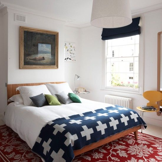 Wood tones, uncluttered, bright, reds and blues - Bedroom - tim evan-cook