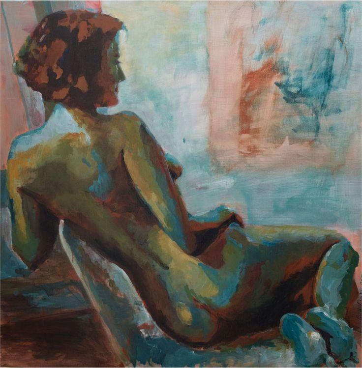 Schilderij 'Anouk'. In de bruidssuite van Hotel Arena poseerde actrice Anouk van Nes. 80 x 80 cm  € 2.250,-