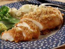 Parmesan Crusted Chicken!  Can be easily adjusted to be gluten-free.