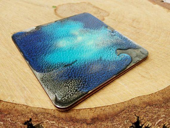 Mug coaster Blue silver metalic shimmering dragon skin ocean