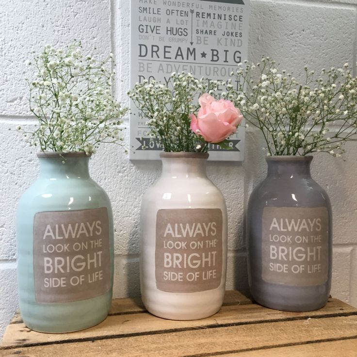 Vintage Always Look On The Bright Side Vase Choice of 3 A beautiful vintage vase with the slogan always look on the bright side of life in a range of