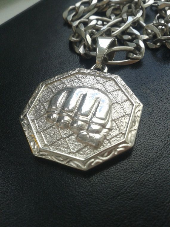 Mixed Martial Arts mma silver pendant | Jewelry charm boxing gloves karate Jiu jitsu Muay Thai ufc sports fighter