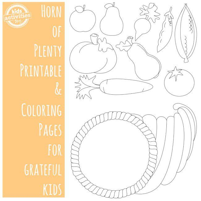 Horn of Plenty Printable and Coloring Pages for Kids