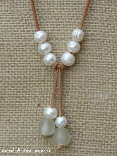 Pearl and Leather Necklace...FREE SHIPPING to by sandandseapearls