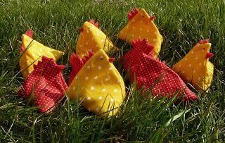 Tyúkanyók és kiscsibék mini babzsákok (ingyen leírással)