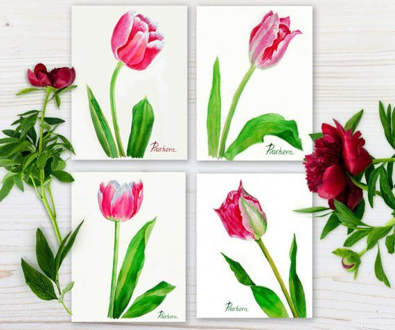 Pink white tulips. Spring Watercolor Set by NataliaPiache on Etsy