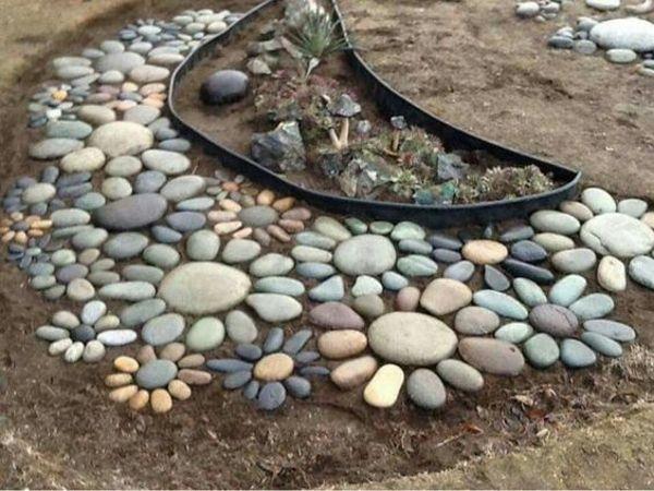 Beautiful floral design stone path