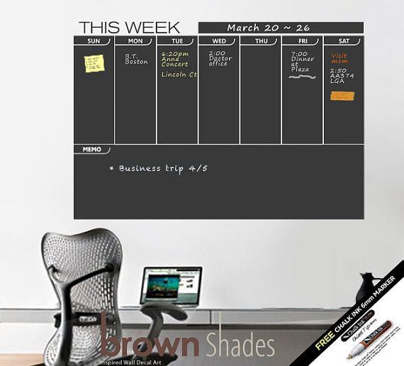 Weekly Wall Planner Chalkboard Decal  FREE Chalk by brownshades