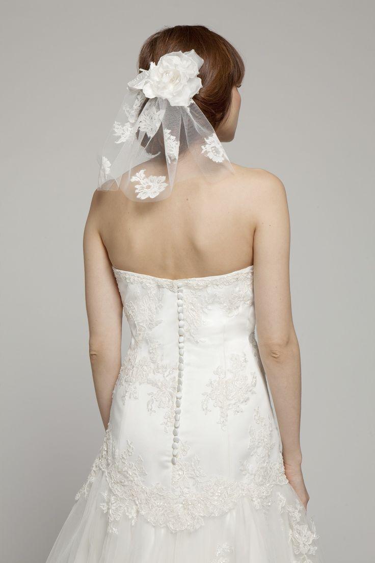 Melanie Potro Bridal Couture - Lace Veil with  Silk flower