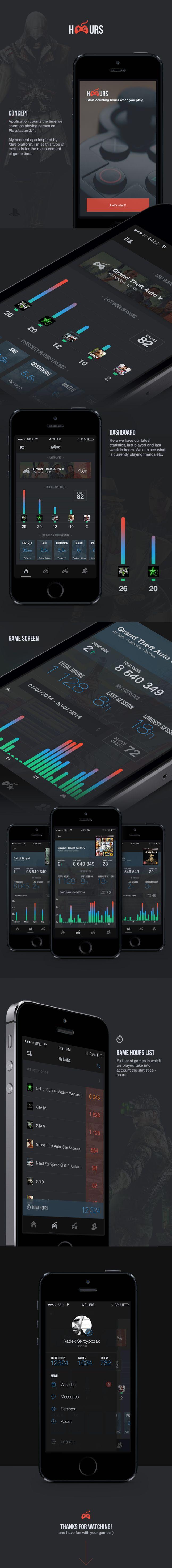 Hours Gaming    https://www.behance.net/gallery/19287377/HOURS-Gaming-app