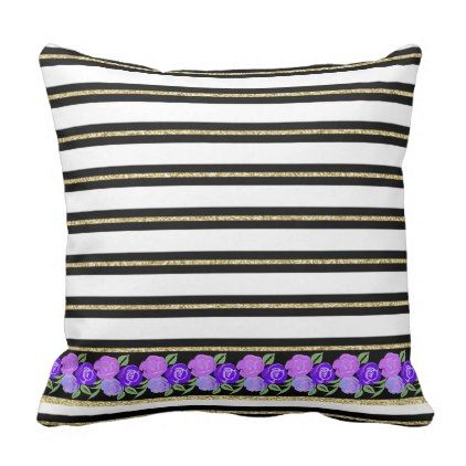 #Purple Roses on Black White Gold Stripes Cushion - #floral #gifts #flower #flowers