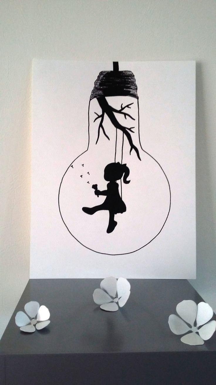 """Affiche Illustration Noir et blanc ampoule """" envole-moi """" : Affiches, illustrations, posters par stefe-reve-en-feutrine"""